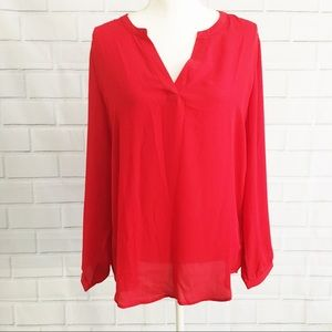 NWT Adrianna Papell Red Longsleeve Blouse (L)